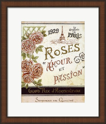 Framed French Seed Packet I Print