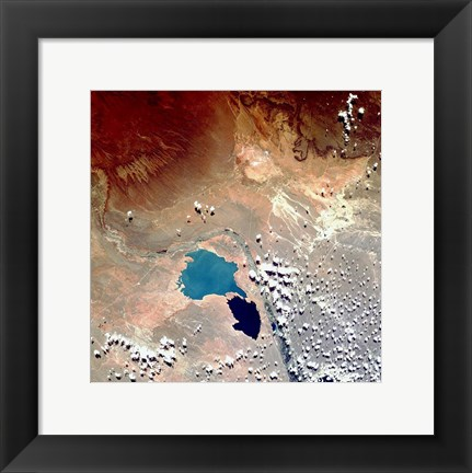 Framed Cerros Colorados Argentina from Space Taken by Atlantis Print