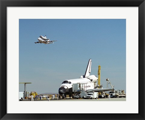 Framed Endeavour on Runway with Columbia on SCA Overhead Print
