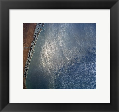 Framed Ocean wave forms of the coast of Mexico Print