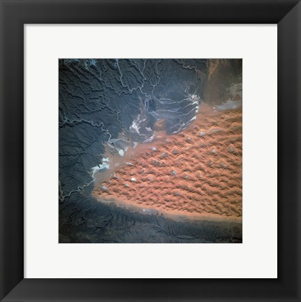 Framed Spectacular view of dune fields in Algeria photographed from orbit Print