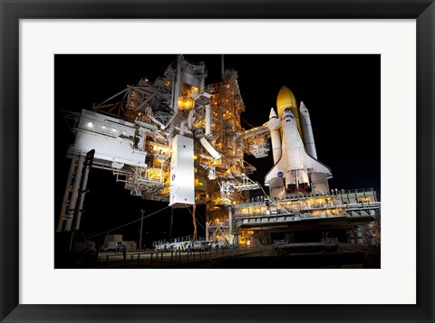 Framed STS-135 Atlantis and payload canister on Launch Pad Print