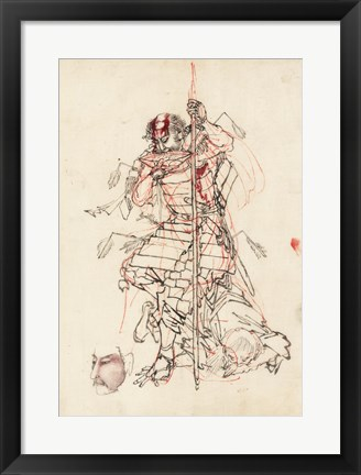 Framed Samurai Sketch Print