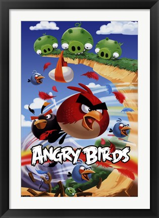 Framed Angry Birds - Attack Print