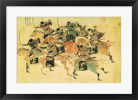 Framed Samurais on horseback Print