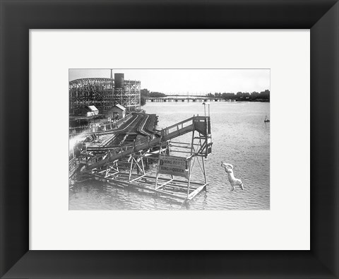 Framed diving horse at the Hanlan's Point Amusement Park, Toronto, Canada. Print