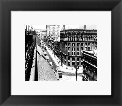 Framed Yonge Street, looking North from Customs House Print