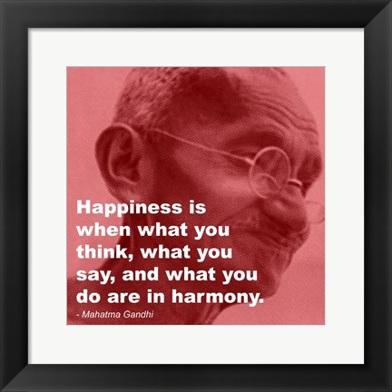 Framed Gandhi - Happiness Quote Print