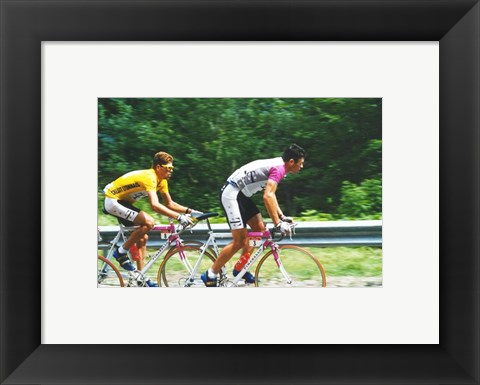 Framed Jan Ullrich and Udo Bolts crossing the Vosges mountains together in the 1997 Tour de France Print
