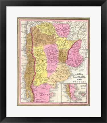 Framed 1846 Burroughs - Mitchell Map of Argentina, Uruguay, Chili in South America Print
