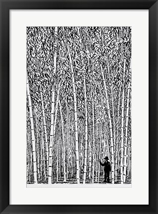 Framed Man and Bamboo Print