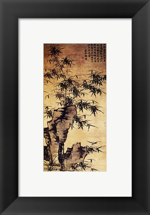 Framed Xia Chang-Bamboo and Stone Print