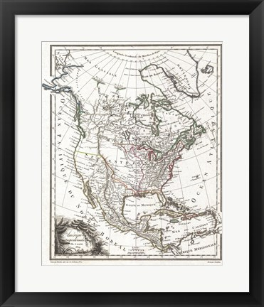 Framed 1809 Tardieu Map of North America Print