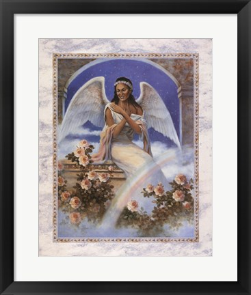 Framed Black Angel with Rainbow Print