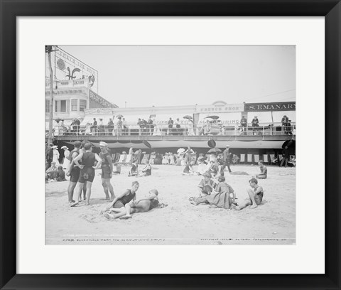 Framed Boardwalk from the beach, Atlantic City, NJ Print