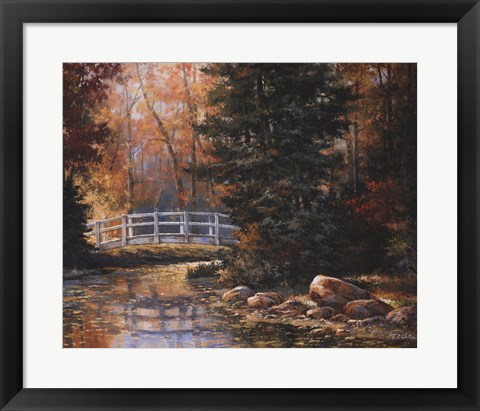 Framed Foot Bridge in the Woods Print