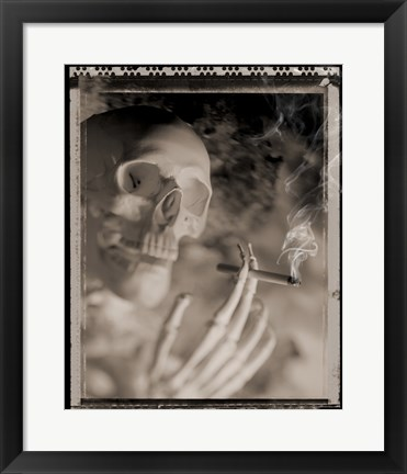 Framed Side profile of a skeleton holding a cigarette Print