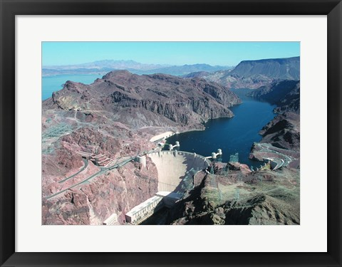 Framed Hoover Dam aerial view Print