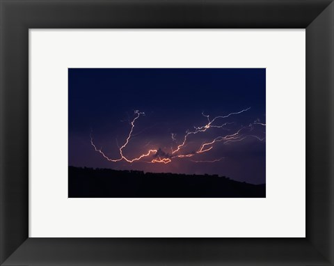 Framed Cloud to cloud lightning strike Print