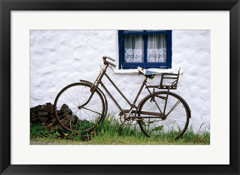 Framed Bicycles leaning against a wall, Bog Village Museum, Glenbeigh, County Kerry, Ireland Print