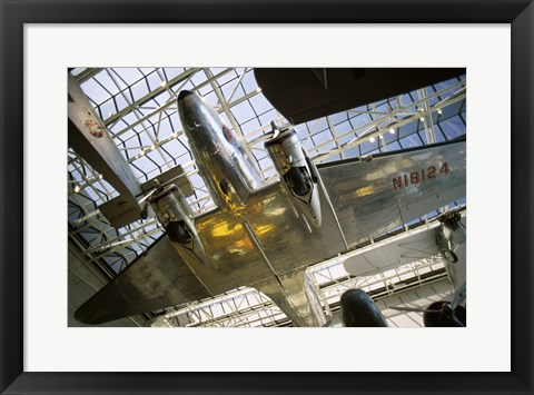 Framed Low angle view of an aircraft displayed in a museum, National Air and Space Museum, Washington DC, USA Print