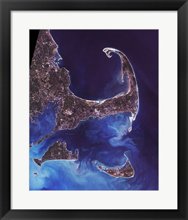 Framed Cape Cod - from space Print