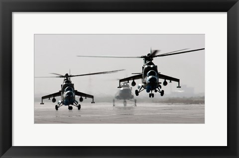 Framed MI-35 attack helicopters from the Afghan National Army Air Corps Print