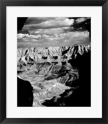 Framed Grand Canyon National Park (wide angle, black & white) Print