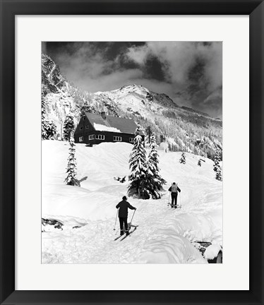 Framed Rear view of two people skiing, Washington, USA Print