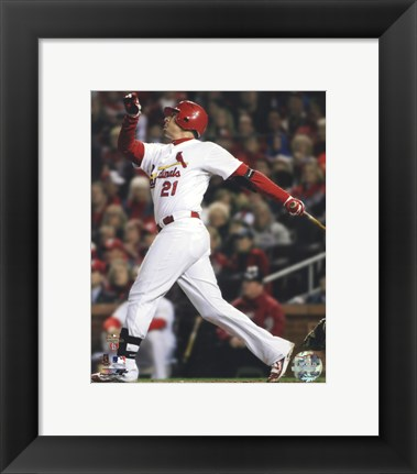 Framed Allen Craig Home Run Game 7 of the 2011 MLB World Series Action (#36) Print