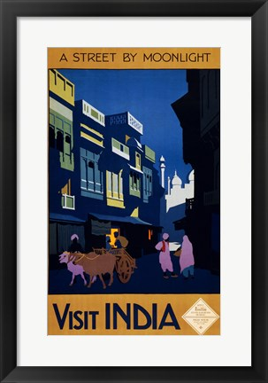 Framed Visit India, a street by moonlight, travel poster 1920 Print