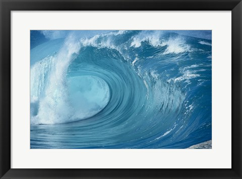 Framed Close-up of waves in the sea in turquoise Print