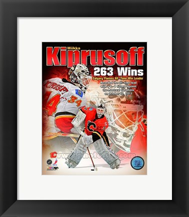 Framed Miikka Kiprusoff Calgary Flames All-Time Wins Leader Composite Print