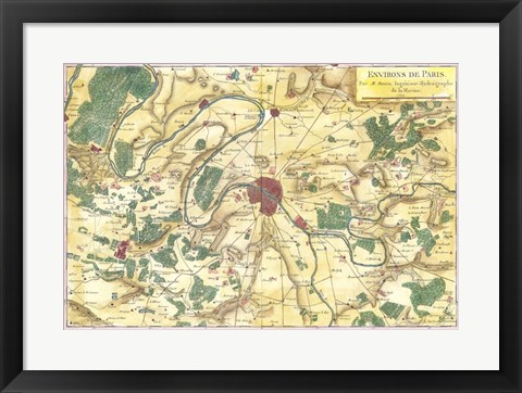 Framed 1780 Bonne Map of the Environs of Paris, France Print
