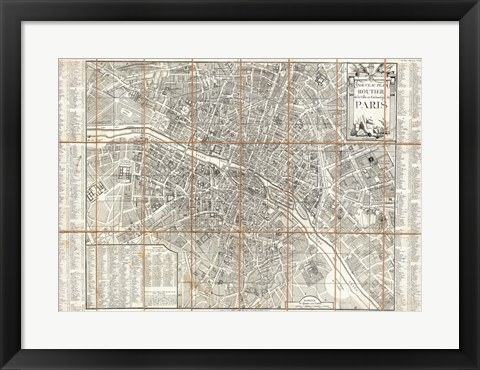 Framed 1780 Esnauts and Rapilly Case Map of Paris Print