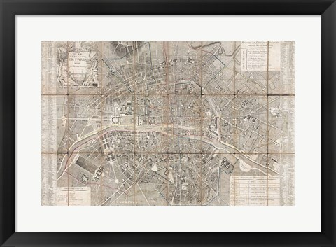 Framed 1797 Jean Map of Paris and the Faubourgs, France Print