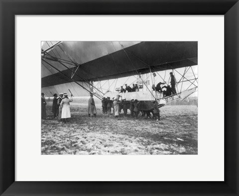 Framed Zeppelin Landing in Presence of Count Zeppelin and Crown Prince Print