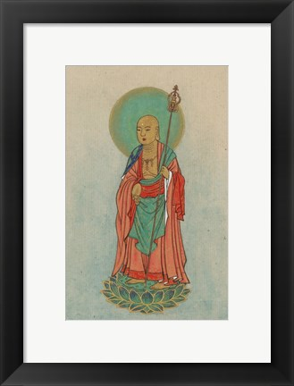 Framed Buddha Standing on a Lotus Print