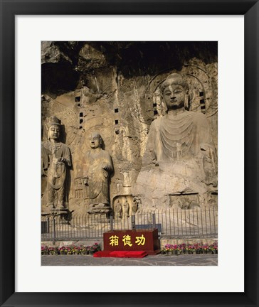 Framed Buddha Statue in a Cave, Longmen Caves, Luoyang, China Vertical Print