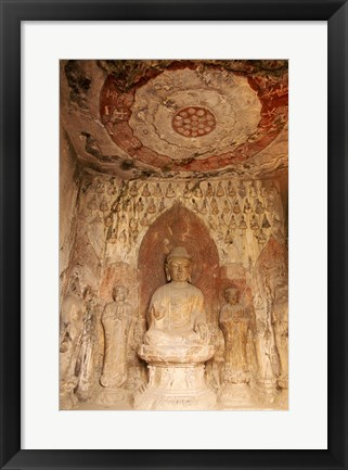 Framed Buddha statue, Longmen Buddhist Caves, Luoyang, China Print