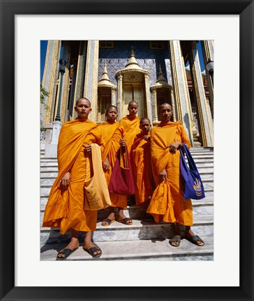 Framed Group of monks, Wat Phra Kaeo Temple of the Emerald Buddha, Bangkok, Thailand Print
