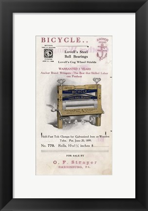 Framed Bicycle Clothes Wringer Print