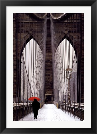 Framed Brooklyn Bridge Meets Red Print