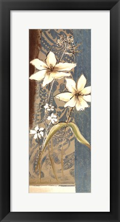 Framed Fancy Floral On Blue I Print