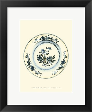 Framed Blue & White Porcelain Plate V Print