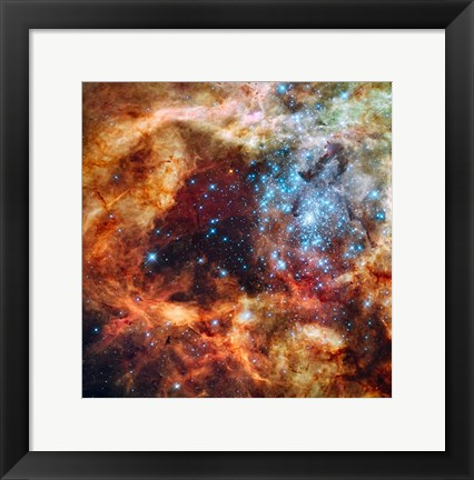Framed Hubble Space Telescope image of the R136 Super Star Cluster Print