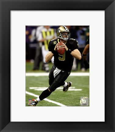 Framed Drew Brees 2011 NFC Wild Card Playoff Action Print