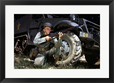 Framed Infantryman with M1 Garand, Fort Knox, KY, 1942 Print