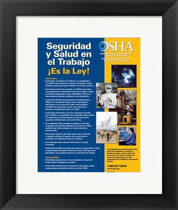 Framed OSHA Job Safety and Health Spanish Version 2012 Print