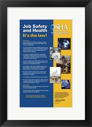Framed OSHA Job Safety and Health Version 2012 Print